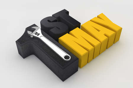1st may, happy labor day with wrench handtool. 3D Render