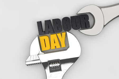 Happy labor day wrench handtool. 3D Render