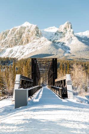 canmore: bridge, national, park, banff, alberta, canmore, canada Stock Photo