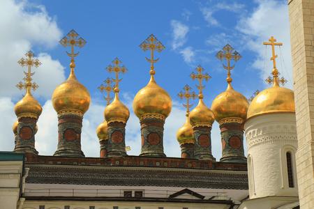 Cupolas of orthodox church in the kremlin Stok Fotoğraf