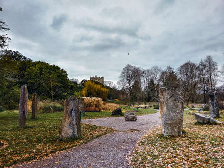 Stone circle with an ancient castle in the background in a winter day
