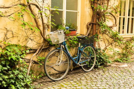 Parked bicycle near the old building and an ivy tree in the center of Munich, Germany Reklamní fotografie
