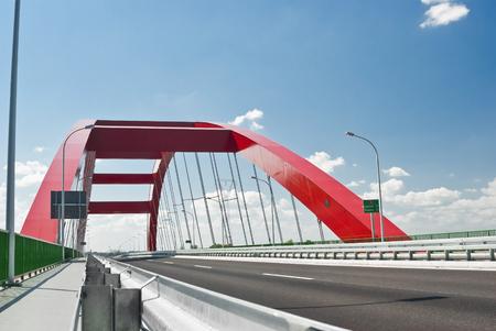Red steel bridge Stock fotó