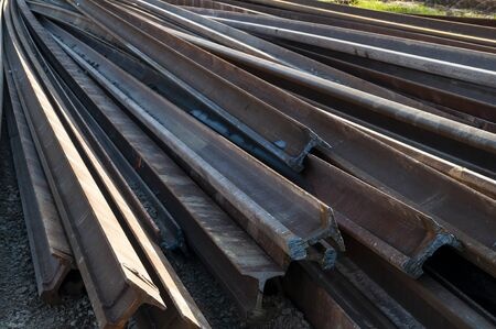 Closeup of rails ready to be mounted on the railroad. Railway maintenance works Reklamní fotografie