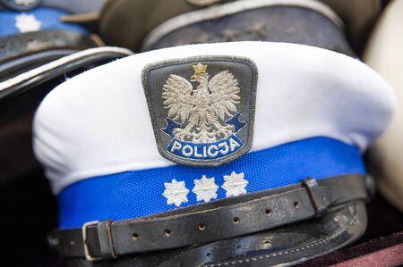 Closeup of polish police hat