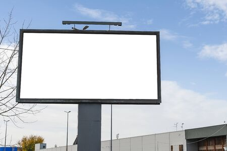 Blank white advertising billboard in the city Stock fotó