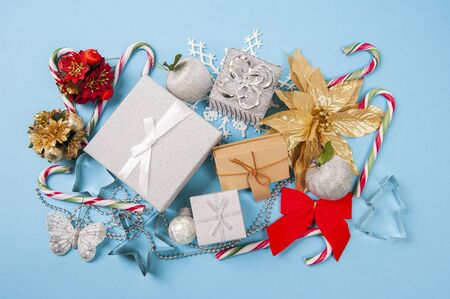 Close-up of gift box and Christmas decorations