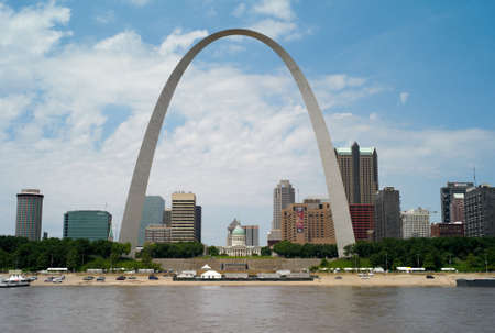 ST. LOUIS, MISSOURI, USA - JULY 23, 2009: A cityscape of St. Louis Missouri with the famous Gateway Arch, a monument to the westward expansion of the United States, designed by Eero Saarinen.