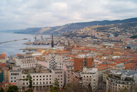 The city center and old town of Trieste from above with the old port in the background. Stock Photo
