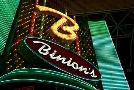 Las Vegas, Nevada - July 06 2009: The neon sign illuminated above the entrance of Binions Horseshoe Casino in the world famous Freemont Street. Editorial