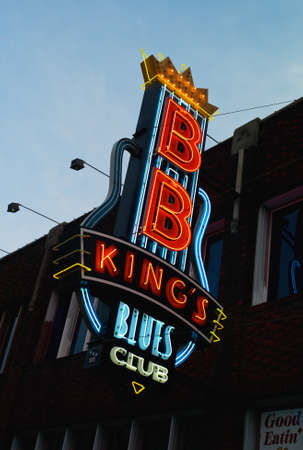 Memphis, Tennessee - July 21 2009: The Illuminated neon sign of BB Kings Blues Club on Beale Street in Memphis, Tennessee. Editorial
