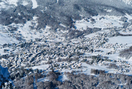 The Romantic, Snow Covered Skiing Resort of Cortina d Ampezzo in the Italian Dolomites seen from Faloria. Stock Photo