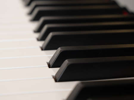 A Close Up of the Beautiful Black and White Keys of a Classic Piano Keyboard Stock Photo