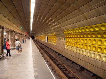 Prague, Czech Republic - June 8 2019: Interior of Mustek Underground Station in Prague, near Wenceslas Square. Editorial