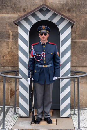 Prague, Czech Republic - June 8 2019: Presidential Guard of Honor at the Hradschin Castle in Prague.