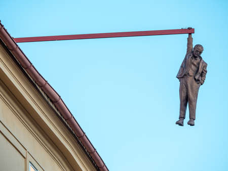 Prague, Czech Republic - June 8 2019: Man Hanging Out, a Funny Statue of Sigmund Freud made by David Cerny in 1996.
