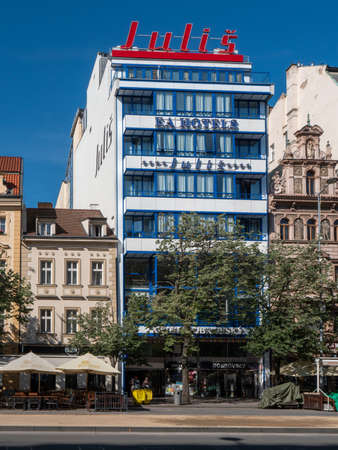 Prague, Czech Republic - June 8 2019: Functionalist Julis Hotel on Wenceslas Square. A Famous Landmark of Modernist Bauhaus Style and Functionalism. Editorial