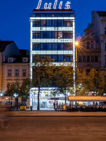 Prague, Czech Republic - June 8 2019: Functionalist Julis Hotel at Night on Wenceslas Square. A Famous Landmark of Modernist Bauhaus Style and Functionalism.