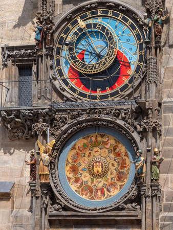 Medieval Prague Astronomical Clock, called prazsky orloj in Czech, and Calendar, Prague, Bohemia, Czech Republic