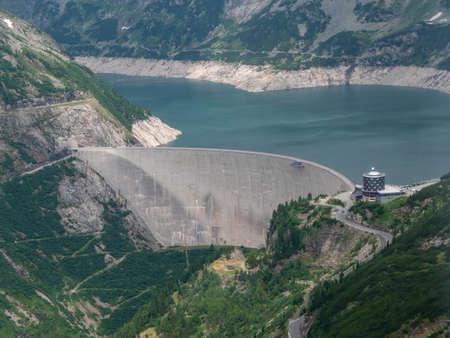 Dam and Reservoir of a Hydroelectric Powerplant in Stunning Alpine Landscape - Maltastaudamm and Kolbreinspeicher in Malta Valley, Carinthia, Austria