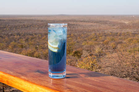 Blue Longdrink Gin and Tonic with Lemon on Terrace with African Landscape near Etosha National Park Foto de archivo
