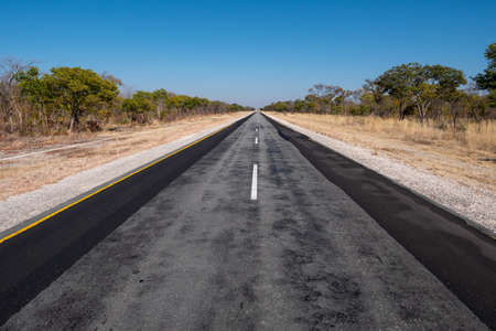 Long Tarmac Road B8 called Golden Highway in the Caprivi Strip, Namibia, Africa going straight to the Horizon in a Lonely, Remote Part of the African Bush