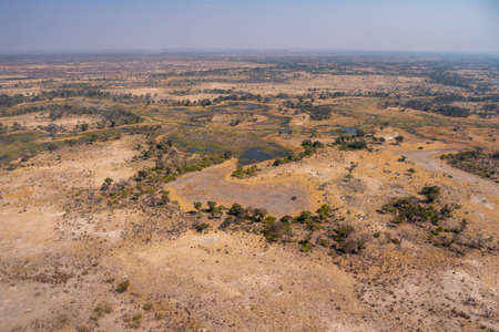 Okavango Delta Landscape Aerial View in Dry Season with Savanna, Trees and Watercourses
