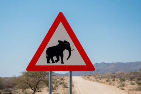 Elephant Crossing Danger Road Sign in Namibia, Triangle Shape