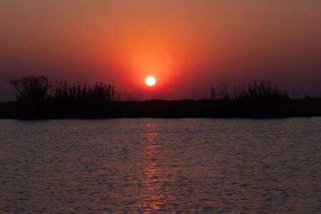 Dramatic, Colorful Sunset on the River, Chobe National Park, Botswana, Africa. River Bank Landscape at Dusk.