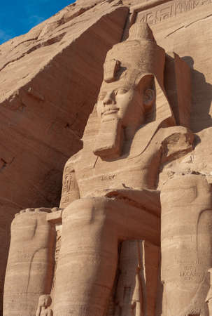 Abu Simbel - Colossus of Ramesses II on the Great Temple also called Sun Temple near Aswan, Egypt