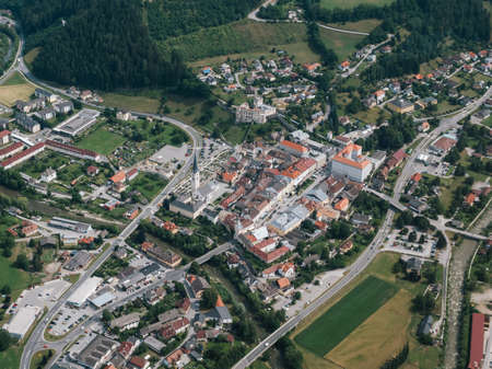 Gmuend in Carinthia, Austria - Aerial View - Medieval Town Center and Tourist Attraction