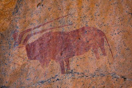 Ancient Red San Rock Art depicting an Eland Antilope on Orange Stone, Historic Drawings made by Bushmen