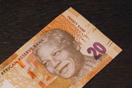 Twenty South African Rand Banknote with Nelson Mandela Portrait, 20 ZAR Bill of the Currency Stock fotó