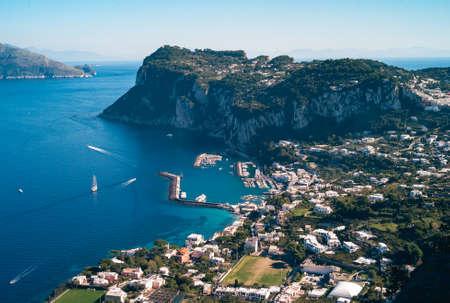 Marina Grande Harbor on Capri Island seen from Villa San Michele on a Summer Day