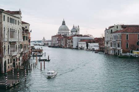 Canale Grande in Venice, Italy in Winter - View from Ponte dell Accademia Bridge with Santa Maria della Salute Church