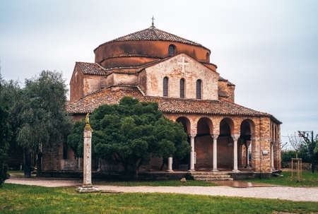 Santa Fosca Church on Torcello Island, in the Lagoon of Venice in the Venetian-Byzantine Architecture Style from the 11th century