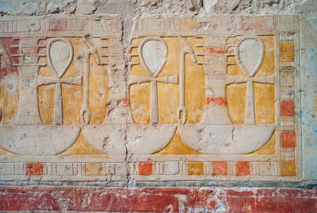Ankh, Sign of Life, Djed, Pillar, and Was, Dominion, Hieroglyphs in the Temple of Hatshepsut in Deir El-Bahari, Egypt, an Ancient Bas Relief Fresco