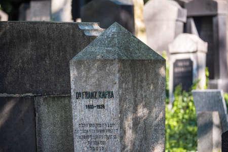 Prague, Czech Republic - July 12 2020: Gravestone of Novelist Franz Kafka on the New Jewish Cemetery called Novy Zidovsky Hrbitov Olsany.