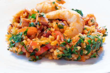 Creole Jambalaya on a White Plate, a Typical Cajun Cuisine Dish rom New Orleans, Louisiana with Shrimp