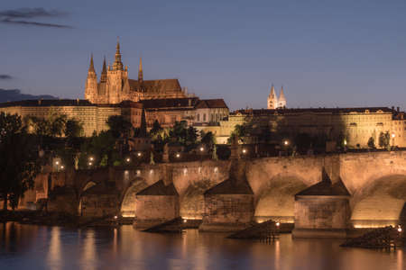 Saint Vitus Cathedral and Charles Bridge, Prague Cityscape at Night with Prague Castle and River Vltava