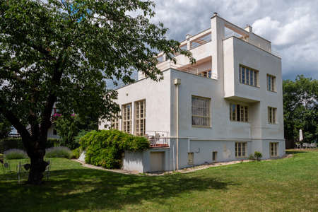 Prague, Czech Republic - July 12 2020: Villa Winternitz, a Modernist and Functionalist Residential Building designed by Adolf Loos and Karel Lhota.