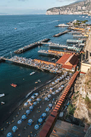 Sorrento, Italy -August 26 2020: Lionelli's Beach and Marameo Beach Club in Sorrento with Umbrellas in Summer Redakční