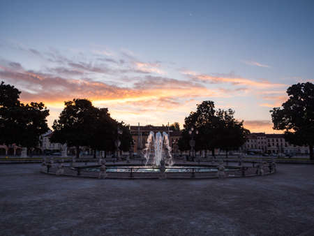 Fountain in the Prato della Valle Square on Isola Memmia in Padova, Italy at Sunrise or Dawn in the Early Morning