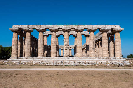 Archaic Temple or first Temple of Hera in Paestum, Italy also called Basilica, an Ancient Greek Temple Ruin Reklamní fotografie