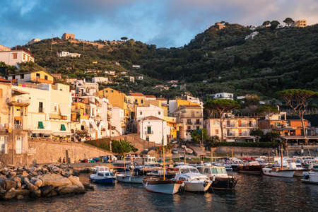 Marina Lobra, Massa Lubrense, Italy - August 23 2020: Port or Harbour with Yachts and Pleasure Crafts on the Sorrentine Coast in the Evening