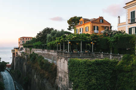 Sorrento, Italy - August 26 2020: Excelsior Vittoria Grand Hotel, Sorrento, Italy, a Leading Hotel of the World on a Cliff in the Evening Redakční