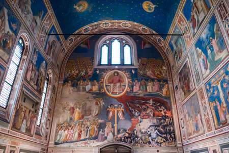 Padua, Italy August 17 2020: Capella degli Scrovegni Chapel with Fresco with Famous Paintings by Giotto Redakční