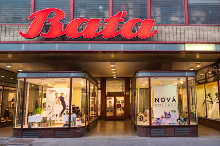 Brno, Czech Republic - September 12 2020: Bata Shoe Shop Modernist or Functionalist Building with Shop Windows and Entrance