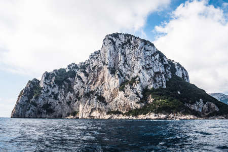 Drop of Tiberius Rock Formation on Capri Island with Villa Jovis Ruin on Top of the Cliff