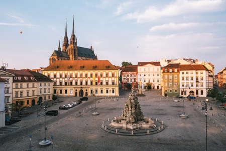Brno, Czech Republic - September 13 2020: Cabbage Market or Zelny Trh with Baroque Parnas Fountain and Cathedral of Peter and Paul